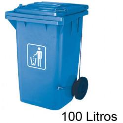 Contenedor de plástico con tapa y ruedas q-connect para plástico y envases de 37x47x75 cm. 100 litros. color azul.