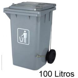Contenedor de plástico con tapa y ruedas q-connect para residuo orgánico de 37x47x75 cm. 100 litros. color gris.