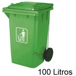 Contenedor de plástico con tapa y ruedas q-connect para vidrio de 37x47x75 cm. 100 litros. color verde.