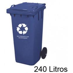 Contenedor de plástico con tapa y ruedas q-connect de 61x62x104 cm. 240 litros. color azul.