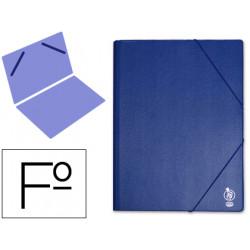 Carpeta de gomas sencilla en cartón forrado de pvc liderpapel en formato folio, color azul.