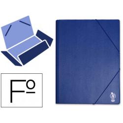 Carpeta de gomas con 3 solapas en cartón forrado de pvc liderpapel en formato folio, color azul.