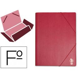Carpeta de gomas con 3 solapas en cartón forrado de pvc liderpapel en formato folio, color corinto.