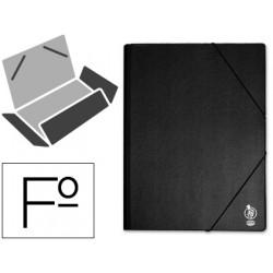 Carpeta de gomas con 3 solapas en carton forrado de pvc liderpapel en formato folio, color negro.
