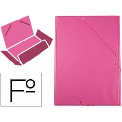Carpeta de gomas con 3 solapas carton forrado en p.v.c. liderpapel en formato folio, color fucsia.