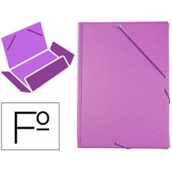 Carpeta de gomas con 3 solapas carton forrado en p.v.c. liderpapel en formato folio, color lila.