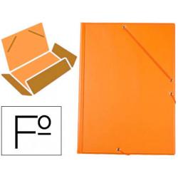 Carpeta de gomas con 3 solapas carton forrado en p.v.c. liderpapel en formato folio, color naranja.