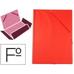 Carpeta de gomas con 3 solapas carton forrado en p.v.c. liderpapel en formato folio, color rojo.