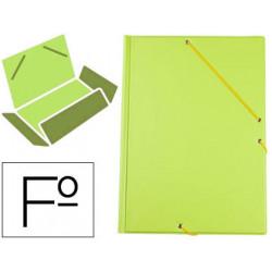 Carpeta de gomas con 3 solapas carton forrado en p.v.c. liderpapel en formato folio, color verde pistacho.
