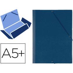 Carpeta de gomas con 3 solapas carton forrado en p.v.c. saro en formato 4º, color azul.
