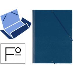 Carpeta de gomas con 3 solapas carton forrado en p.v.c. saro en formato Fº, color azul.
