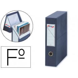Caja de transferencia vertical en cartón compacto pardo en formato folio, lomo 80 mm. color azul.