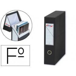 Caja de transferencia vertical en cartón compacto pardo en formato folio, lomo 80 mm. color negro.