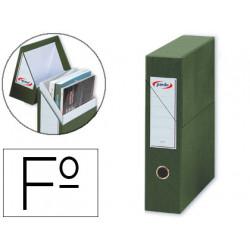 Caja de transferencia vertical en cartón compacto pardo en formato folio, lomo 80 mm. color verde.