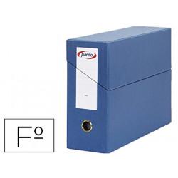 Caja de transferencia horizontal en cartón compacto pardo en formato folio, lomo 115 mm. color azul.