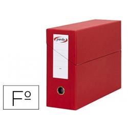 Caja de transferencia horizontal en cartón compacto pardo en formato folio, lomo 115 mm. color rojo.