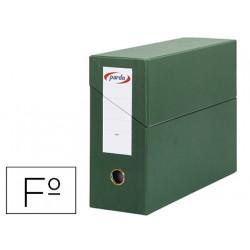 Caja de transferencia horizontal en cartón compacto pardo en formato folio, lomo 115 mm. color verde.