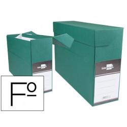 Caja de transferencia horizontal en cartón compacto liderpapel en formato folio, lomo 118 mm. color verde.