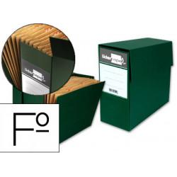 Caja de transferencia horizontal con fuelle en cartón compacto liderpapel en formato folio, lomo 110 mm. color verde.