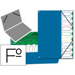Carpeta clasificador de cartón forrada en p.v.c. de fuelle con 9 departamentos pardo en folio de color azul.