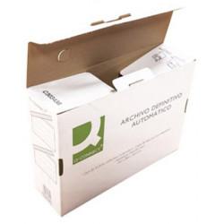 Archivos definitivos en cartón Q-Connect cierre con lengüetas en formato folio.