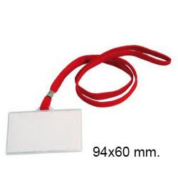 Identificador personal en plástico rígido con cordón plano q-connect de 94x60 mm. color rojo.