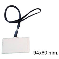 Identificador personal en plástico rígido con cordón plano q-connect de 94x60 mm. color azul.