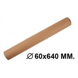 Tubo portadocumentos en cartón con tapas de plástico fabrisa en formato Ø 60x640 mm. color marrón.