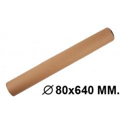 Tubo portadocumentos en cartón con tapas de plástico fabrisa en formato Ø 80x640 mm. color marrón.