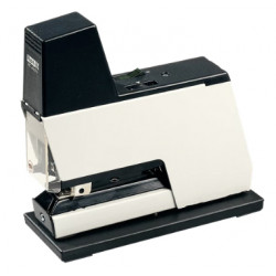 Grapadora eléctrica rapid 105e en color blanco/negro.