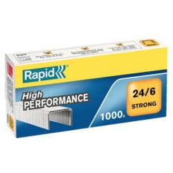 Grapas rapid 24 strong galvanizadas 24/6, caja de 1.000 uds.