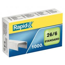 Grapas rapid 26 standard galvanizadas 26/6, caja de 1.000 uds.
