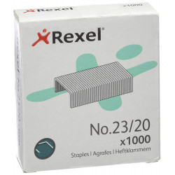 Grapas rexel 23 galvanizadas 23/20, caja de 1.000 uds.