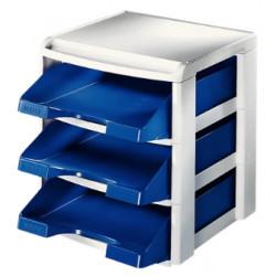 Módulo de 3 bandejas portadocumentos leitz plus standard en color azul/gris.