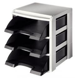 Módulo de 3 bandejas portadocumentos leitz plus standard en color negro/gris.