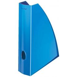 Revistero de archivo leitz wow en color azul metalizado.