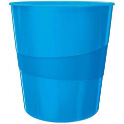 Papelera de polipropileno leitz wow en color azul metalizado.