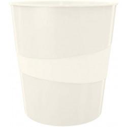 Papelera de polipropileno leitz wow en color blanco perla.