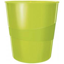 Papelera de polipropileno leitz wow en color verde metalizado.