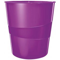 Papelera de polipropileno leitz wow en color violeta metalizado.