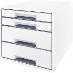 Archivador modular leitz wow cube de 4 cajones en color gris metalizado / blanco perla.