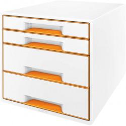 Archivador modular leitz wow cube de 4 cajones en color naranja metalizado / blanco.