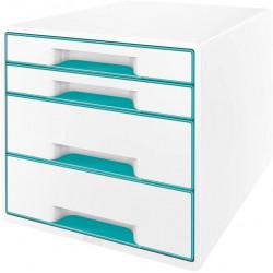 Archivador modular leitz wow cube de 4 cajones en color turquesa metalizado / blanco.
