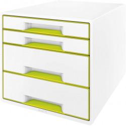 Archivador modular leitz wow cube de 4 cajones en color verde metalizado / blanco.
