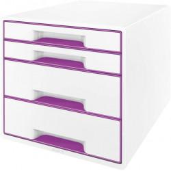 Archivador modular leitz wow cube de 4 cajones en color violeta metalizado / blanco.