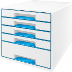 Buc leitz wow 5 cajones 287x270x363 mm. en color blanco/azul metalizado.