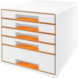 Archivador modular leitz wow cube de 5 cajones en color naranja metalizado / blanco.