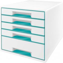 Archivador modular leitz wow cube de 5 cajones en color turquesa metalizado / blanco.