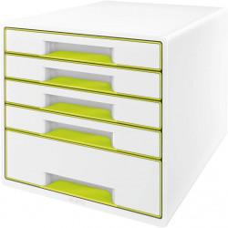 Archivador modular leitz wow cube de 5 cajones en color verde metalizado / blanco.