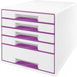 Archivador modular leitz wow cube de 5 cajones en color violeta metalizado / blanco.